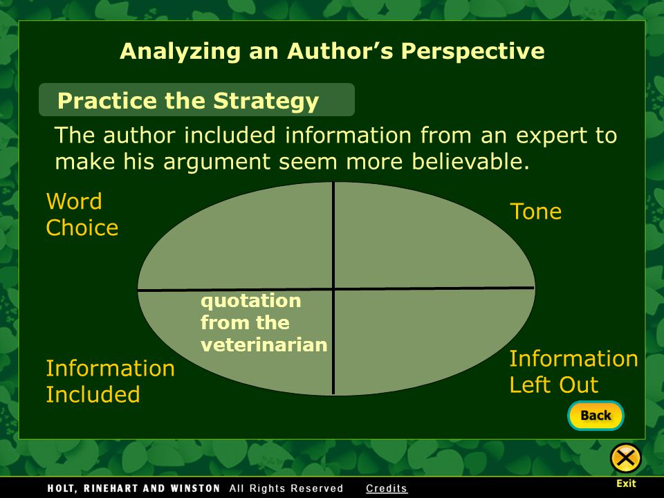 Analyzing an Author's Perspective Practice the Strategy The author included information from an expert to make his argument seem more believable.