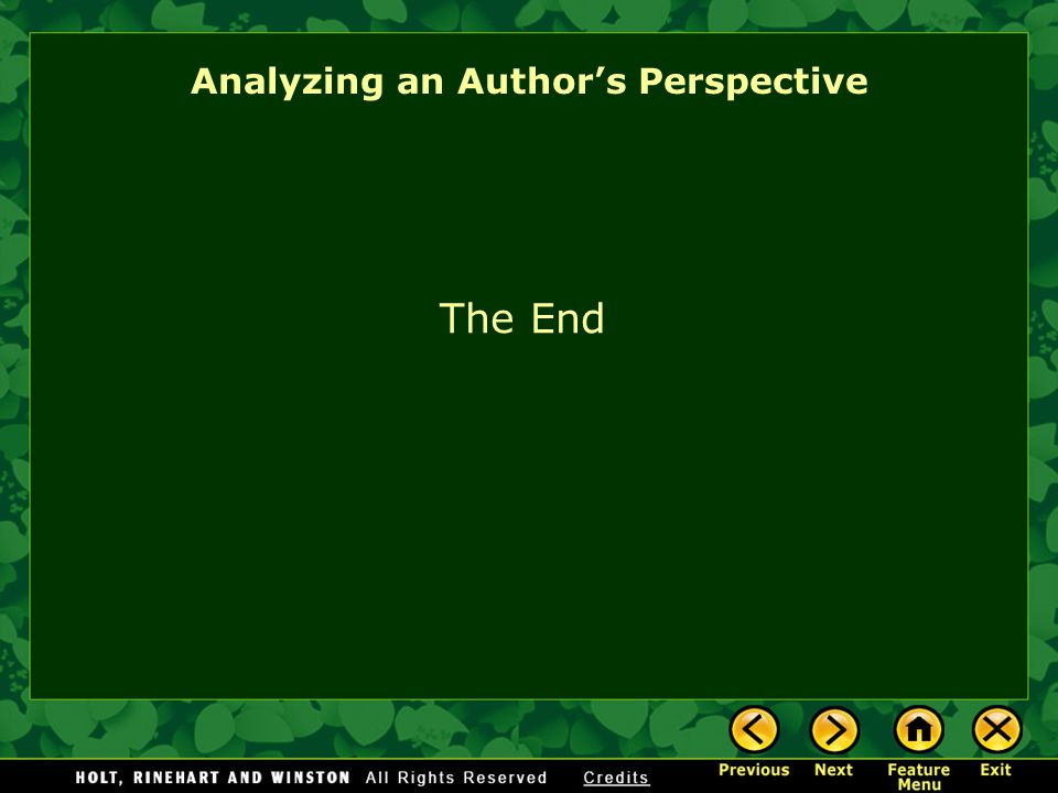 Analyzing an Author's Perspective The End