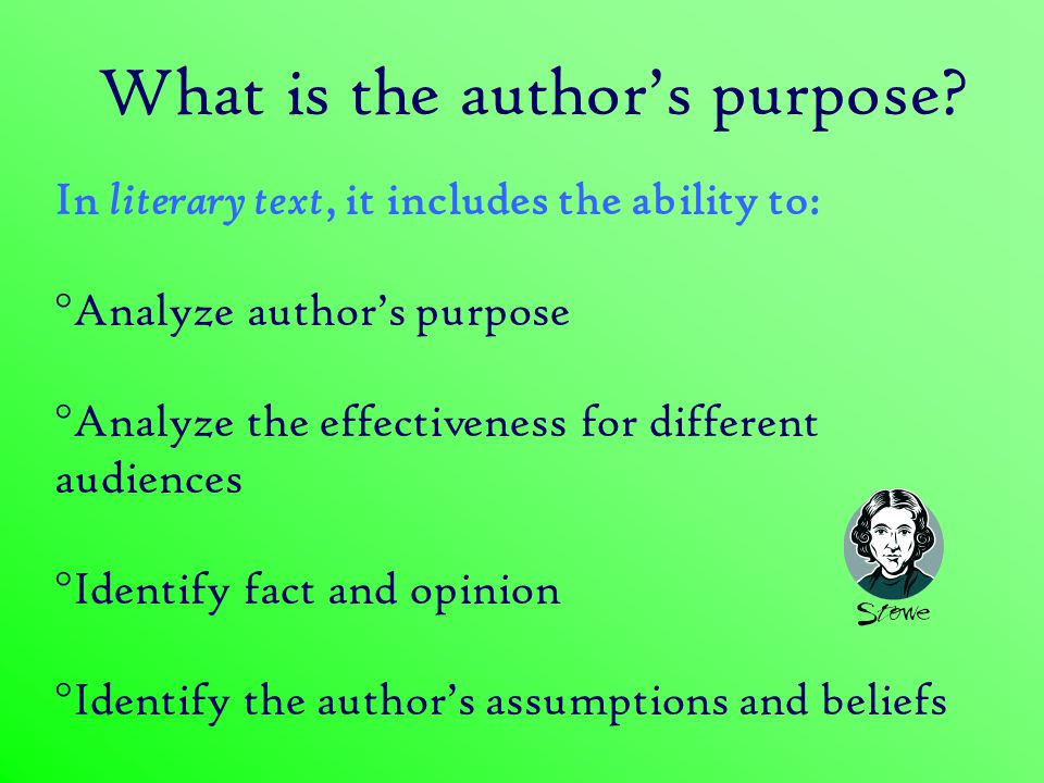 What is the author's purpose.