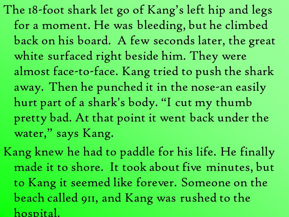 The 18-foot shark let go of Kang's left hip and legs for a moment.