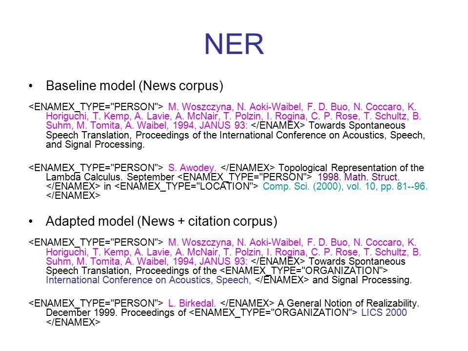 NER Baseline model (News corpus) M. Woszczyna, N.