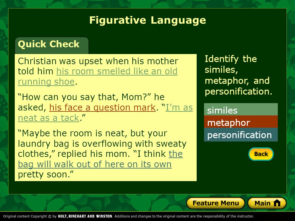 Figurative Language Quick Check Christian was upset when his mother told him his room smelled like an old running shoe.