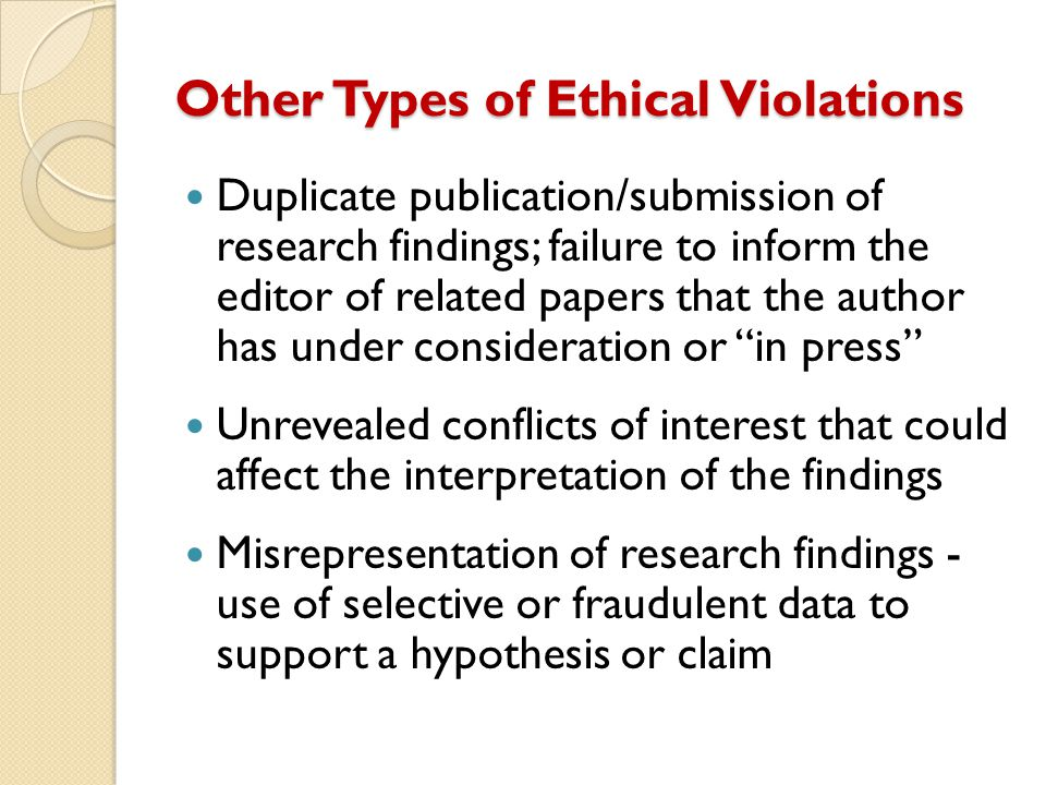 Other Types of Ethical Violations Duplicate publication/submission of research findings; failure to inform the editor of related papers that the autho