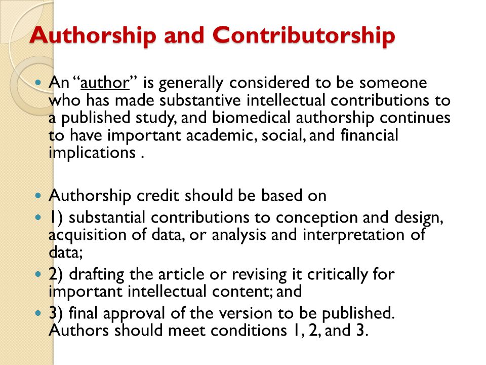 guest authors are those who do not meet accepted authorship criteria but are listed because of their seniority, reputation or supposed influence gift authors are those who do not meet accepted authorship criteria but are listed as a personal favour or in return for payment ghost authors are those who meet authorship criteria but are not listed Authorship