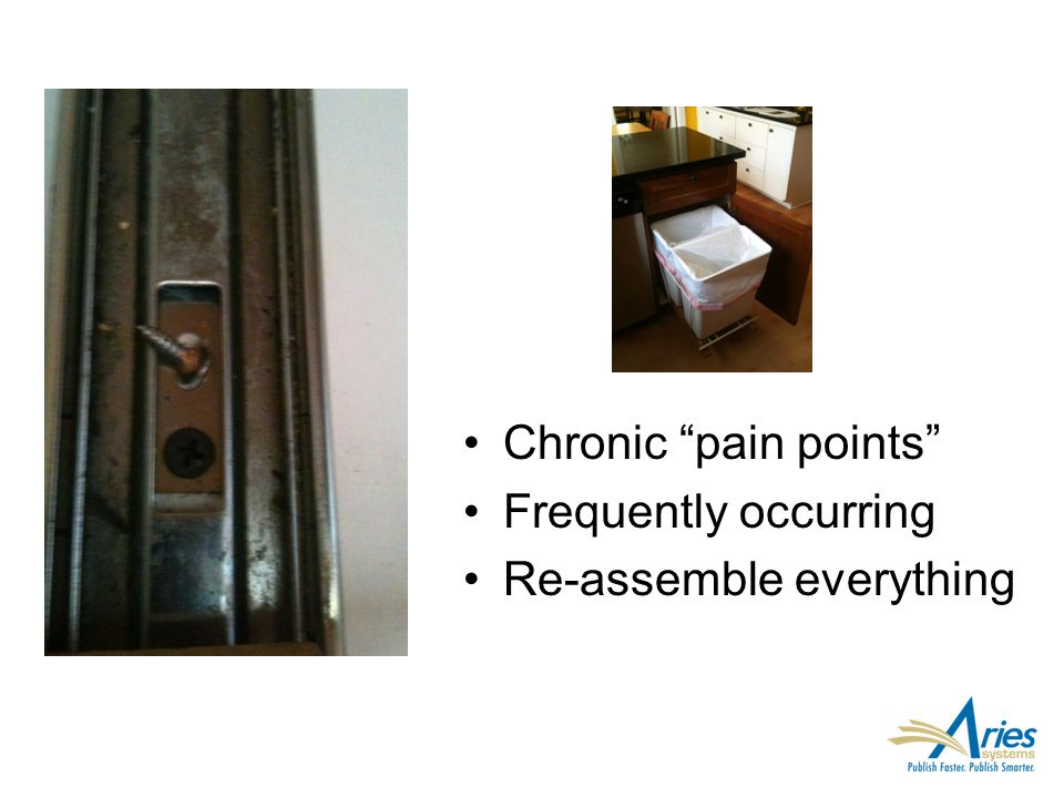 "Chronic ""pain points"" Frequently occurring Re-assemble everything"