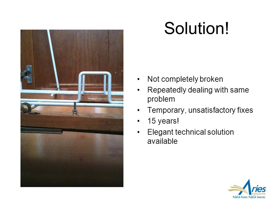 Solution! Not completely broken Repeatedly dealing with same problem Temporary, unsatisfactory fixes 15 years! Elegant technical solution available