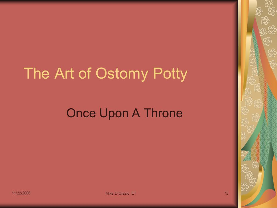 11/22/2008 Mike D Orazio, ET73 The Art of Ostomy Potty Once Upon A Throne