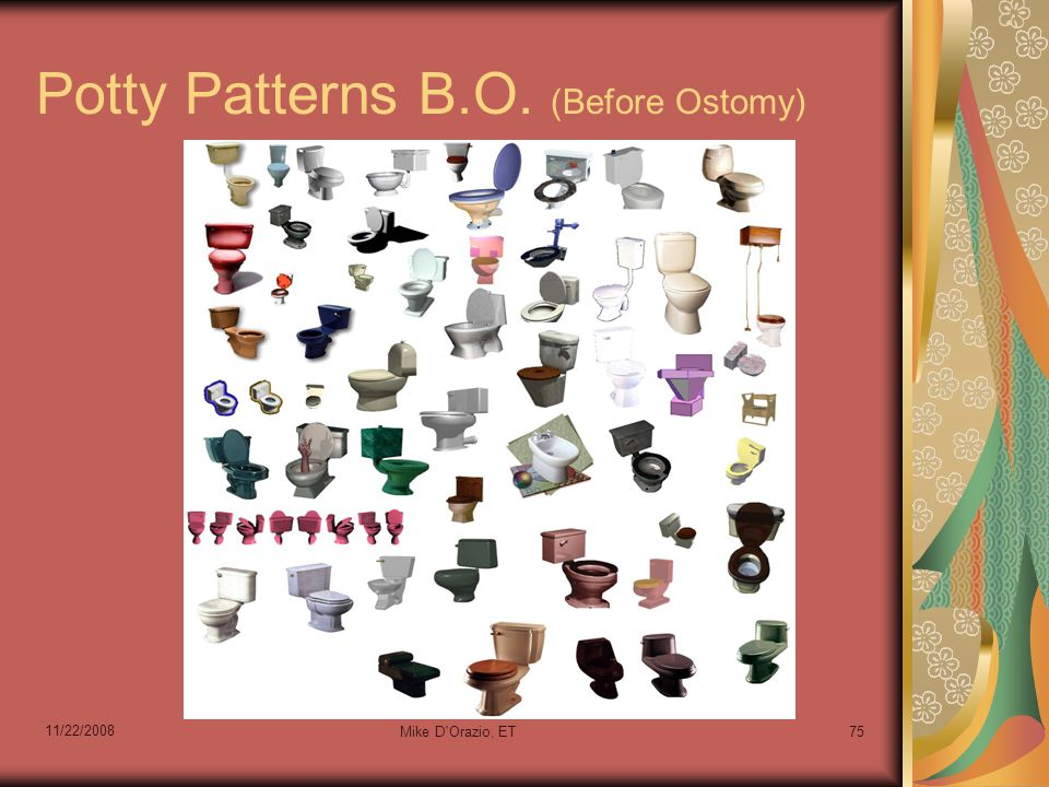 11/22/2008 Mike D Orazio, ET75 Potty Patterns B.O. (Before Ostomy)