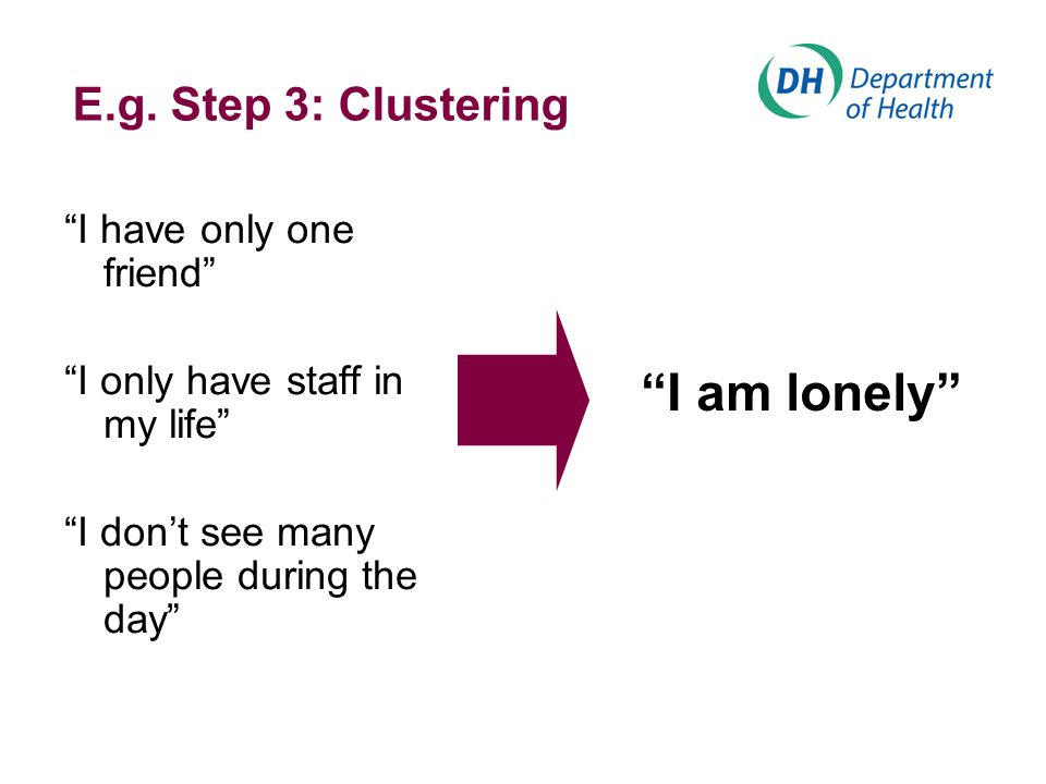 "E.g. Step 3: Clustering ""I have only one friend"" ""I only have staff in my life"" ""I don't see many people during the day"" ""I am lonely"""