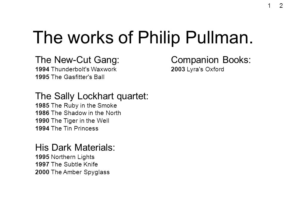 The works of Philip Pullman. The New-Cut Gang: 1994 Thunderbolt's Waxwork 1995 The Gasfitter's Ball The Sally Lockhart quartet: 1985 The Ruby in the S