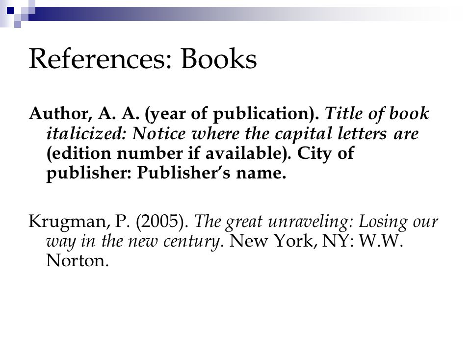 References: Books Author, A. A. (year of publication).