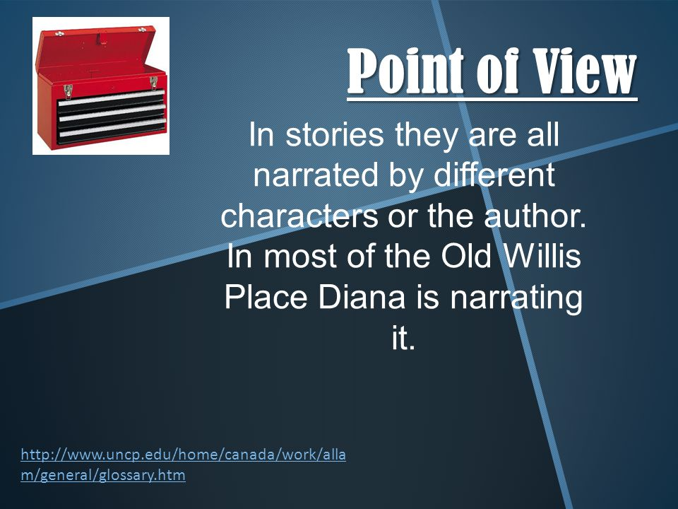 Point of View http://www.uncp.edu/home/canada/work/alla m/general/glossary.htm In stories they are all narrated by different characters or the author.