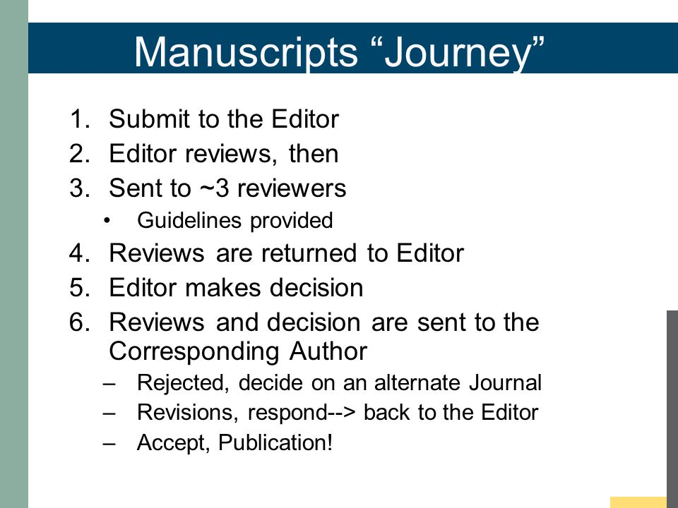 Manuscripts Journey 1.Submit to the Editor 2.Editor reviews, then 3.Sent to ~3 reviewers Guidelines provided 4.Reviews are returned to Editor 5.Editor makes decision 6.Reviews and decision are sent to the Corresponding Author –Rejected, decide on an alternate Journal –Revisions, respond--> back to the Editor –Accept, Publication!