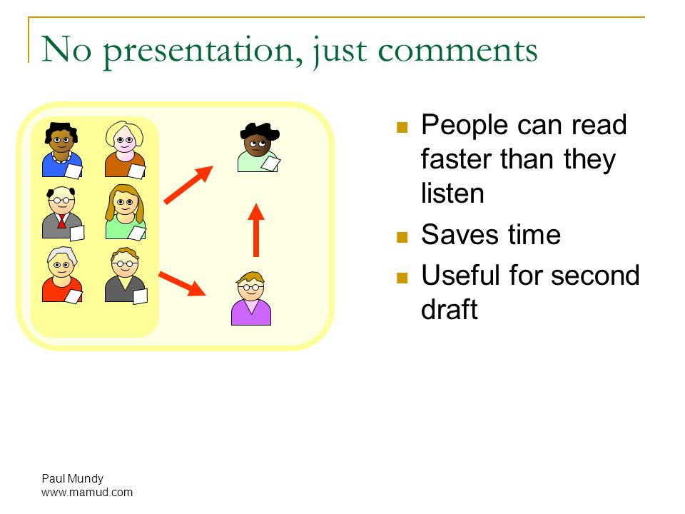 Paul Mundy www.mamud.com No presentation, just comments People can read faster than they listen Saves time Useful for second draft