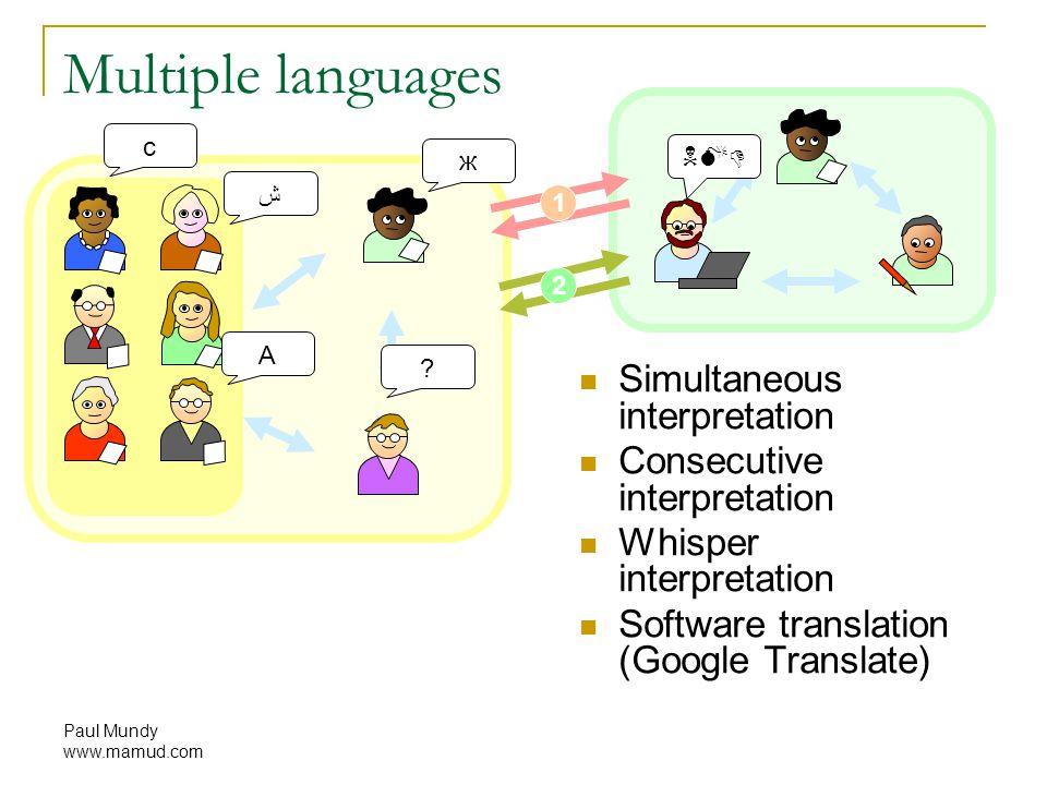 Paul Mundy www.mamud.com 1 2 Multiple languages Simultaneous interpretation Consecutive interpretation Whisper interpretation Software translation (Google Translate) A c ش ж .