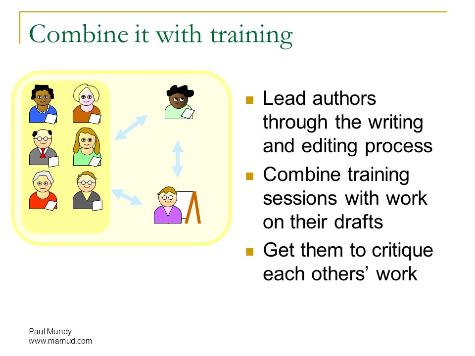 Paul Mundy www.mamud.com Combine it with training Lead authors through the writing and editing process Combine training sessions with work on their drafts Get them to critique each others' work