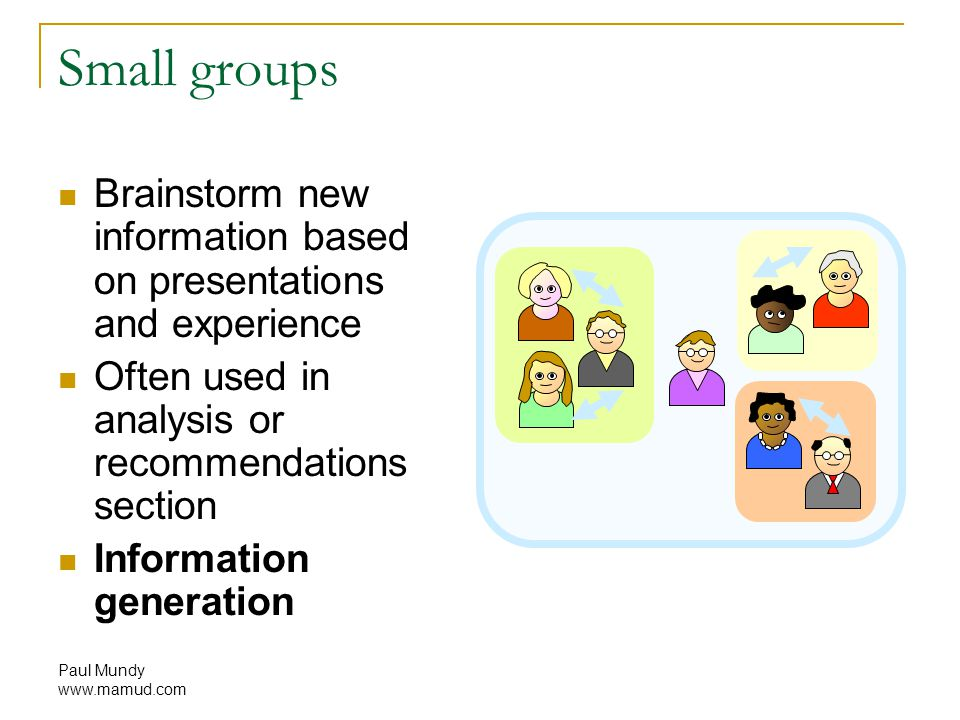 Paul Mundy www.mamud.com Small groups Brainstorm new information based on presentations and experience Often used in analysis or recommendations section Information generation