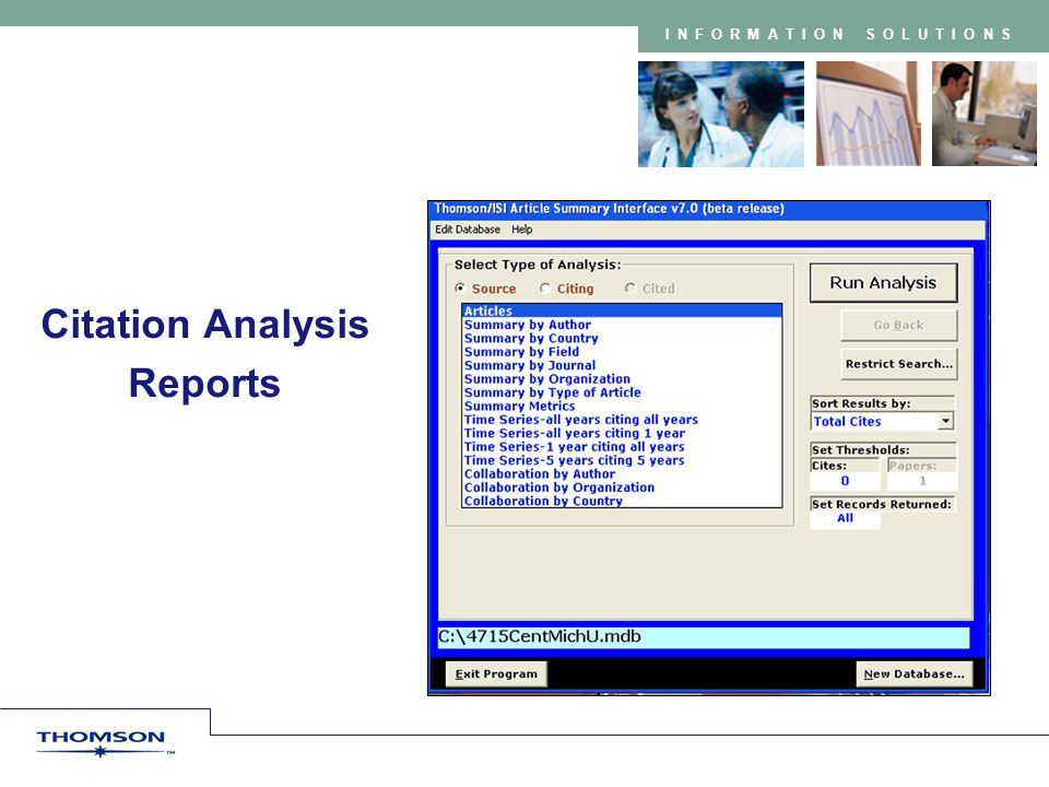 INFORMATION SOLUTIONS Citation Analysis Reports