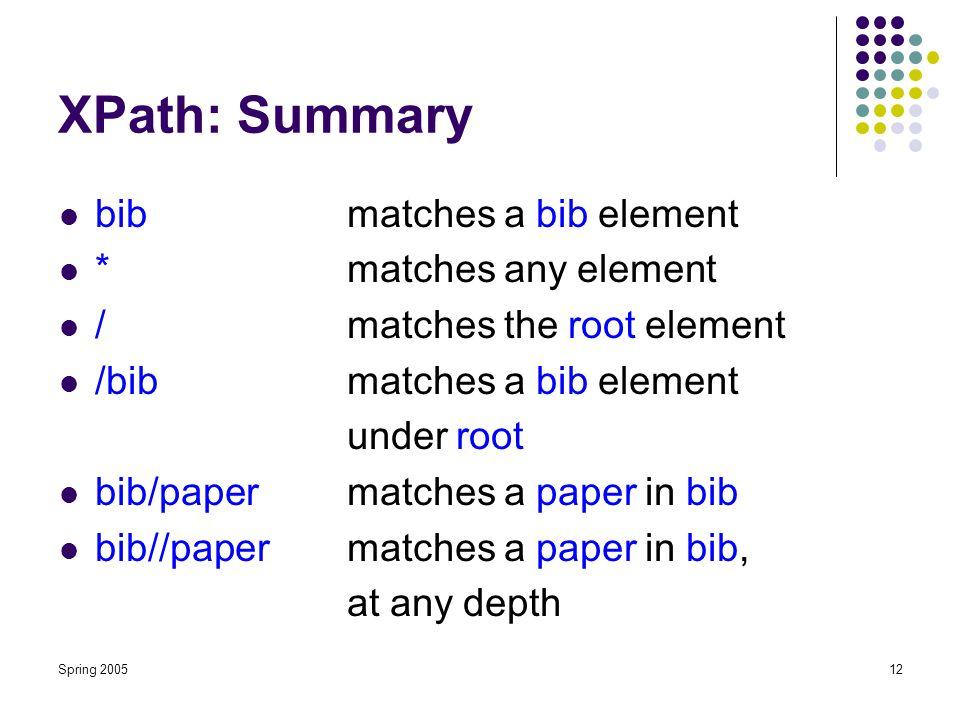 Spring 200512 XPath: Summary bibmatches a bib element *matches any element /matches the root element /bibmatches a bib element under root bib/papermatches a paper in bib bib//papermatches a paper in bib, at any depth