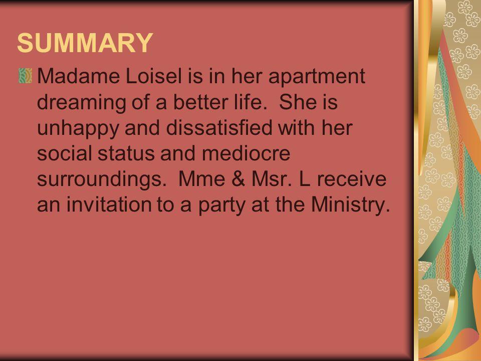 PLOT DEVELOPMENT CHART EXPOSITION: We meet Mme.