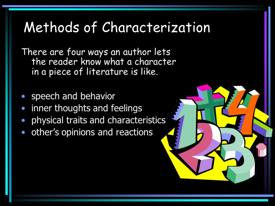 Methods of Characterization There are four ways an author lets the reader know what a character in a piece of literature is like.