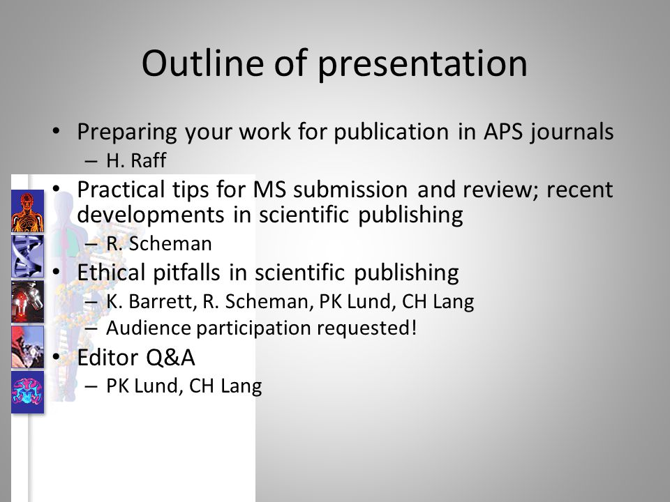 Outline of presentation Preparing your work for publication in APS journals – H. Raff Practical tips for MS submission and review; recent developments