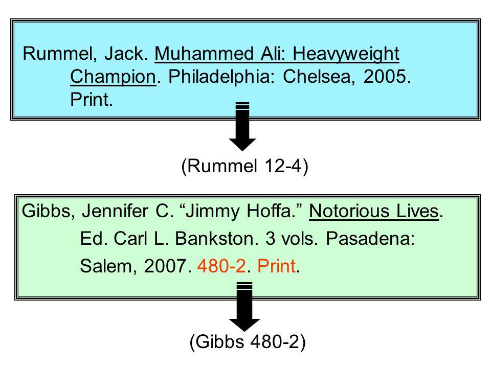 "Rummel, Jack. Muhammed Ali: Heavyweight Champion. Philadelphia: Chelsea, 2005. Print. Gibbs, Jennifer C. ""Jimmy Hoffa."" Notorious Lives. Ed. Carl L. B"