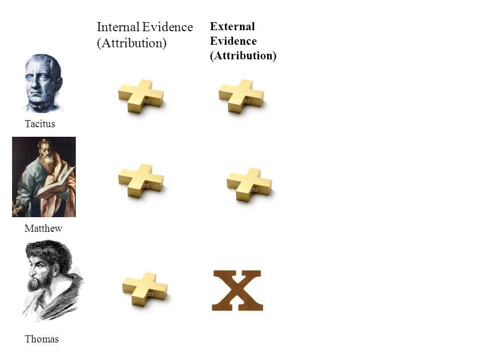 Internal Evidence (Attribution) Tacitus Matthew Thomas External Evidence (Attribution)
