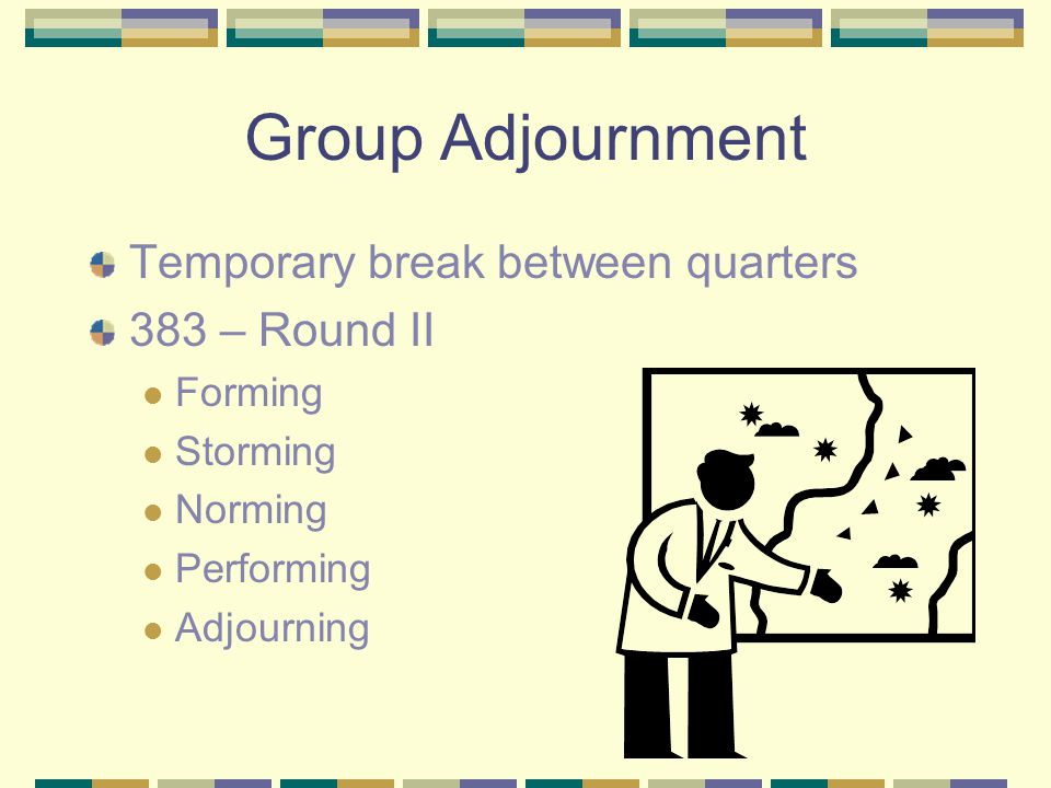 Group Adjournment Temporary break between quarters 383 – Round II Forming Storming Norming Performing Adjourning