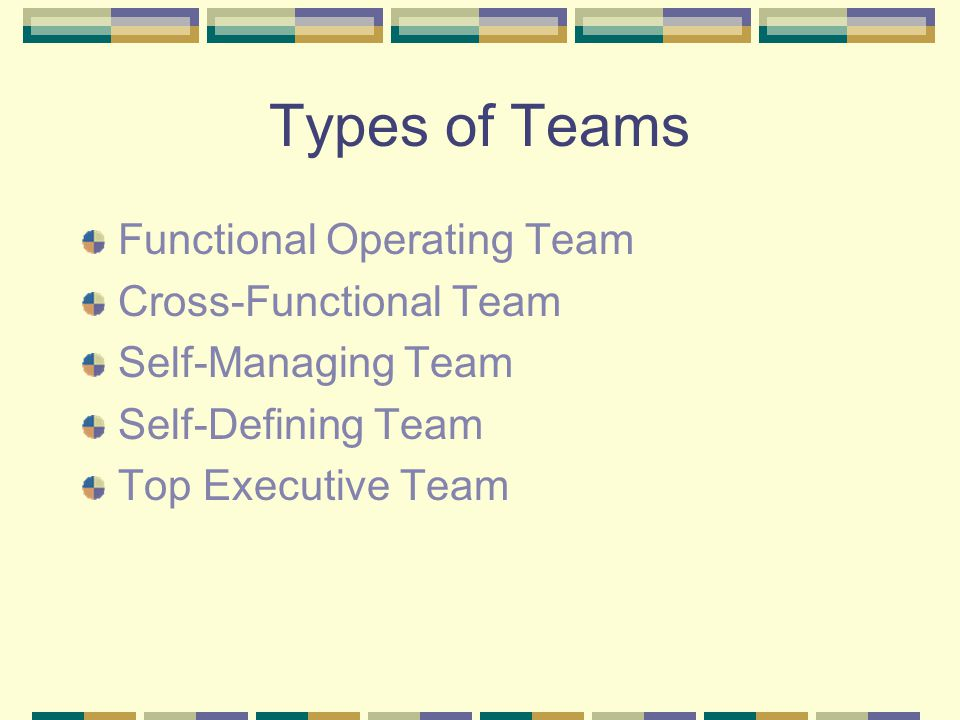 Types of Teams Functional Operating Team Cross-Functional Team Self-Managing Team Self-Defining Team Top Executive Team