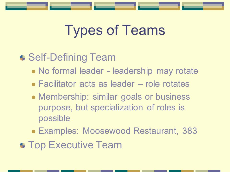 Types of Teams Self-Defining Team No formal leader - leadership may rotate Facilitator acts as leader – role rotates Membership: similar goals or business purpose, but specialization of roles is possible Examples: Moosewood Restaurant, 383 Top Executive Team