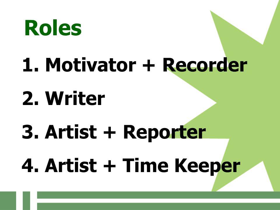 Roles 1. Motivator + Recorder 2. Writer 3. Artist + Reporter 4. Artist + Time Keeper