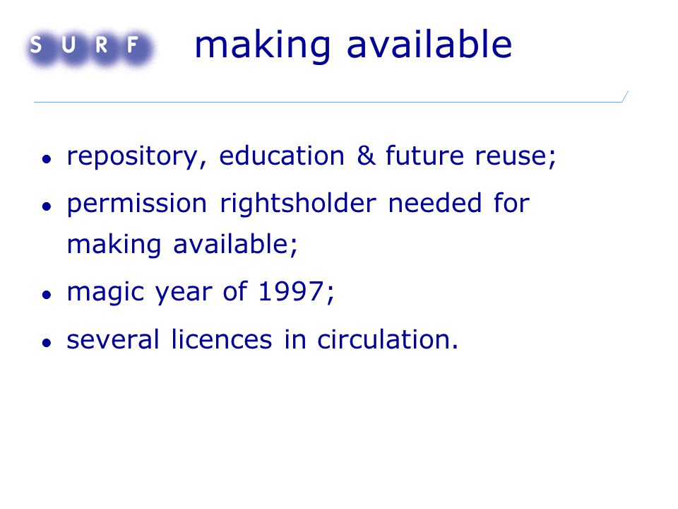 making available repository, education & future reuse; permission rightsholder needed for making available; magic year of 1997; several licences in ci