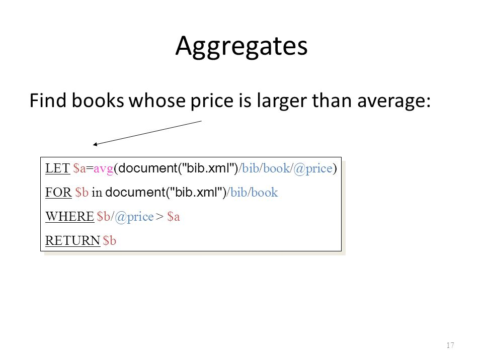 Aggregates Find books whose price is larger than average: 17 LET $a=avg( document( bib.xml ) /bib/book/@price) FOR $b in document( bib.xml ) /bib/book WHERE $b/@price > $a RETURN $b LET $a=avg( document( bib.xml ) /bib/book/@price) FOR $b in document( bib.xml ) /bib/book WHERE $b/@price > $a RETURN $b