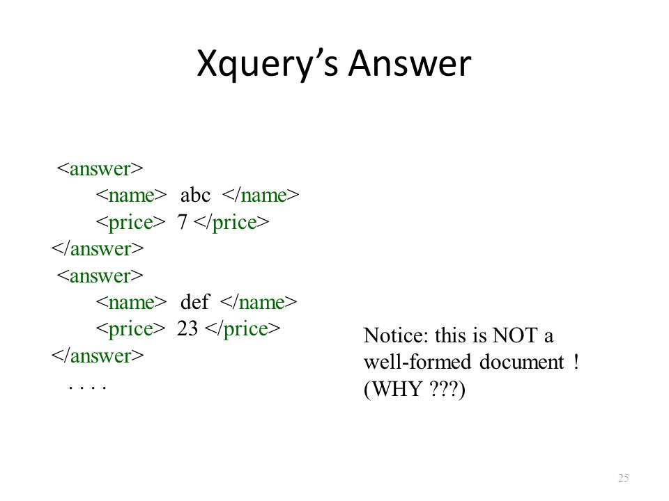 25 abc 7 def 23.... Xquery's Answer Notice: this is NOT a well-formed document ! (WHY )