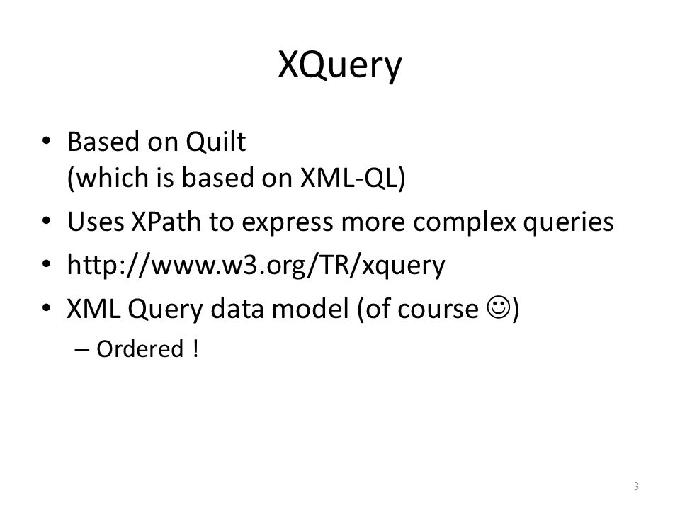 Sorting in XQuery Sorting arugments: refer to the name space of the RETURN clause, not the FOR clause To sort on an element you don't want to display, first return it, then remove it with an additional query.