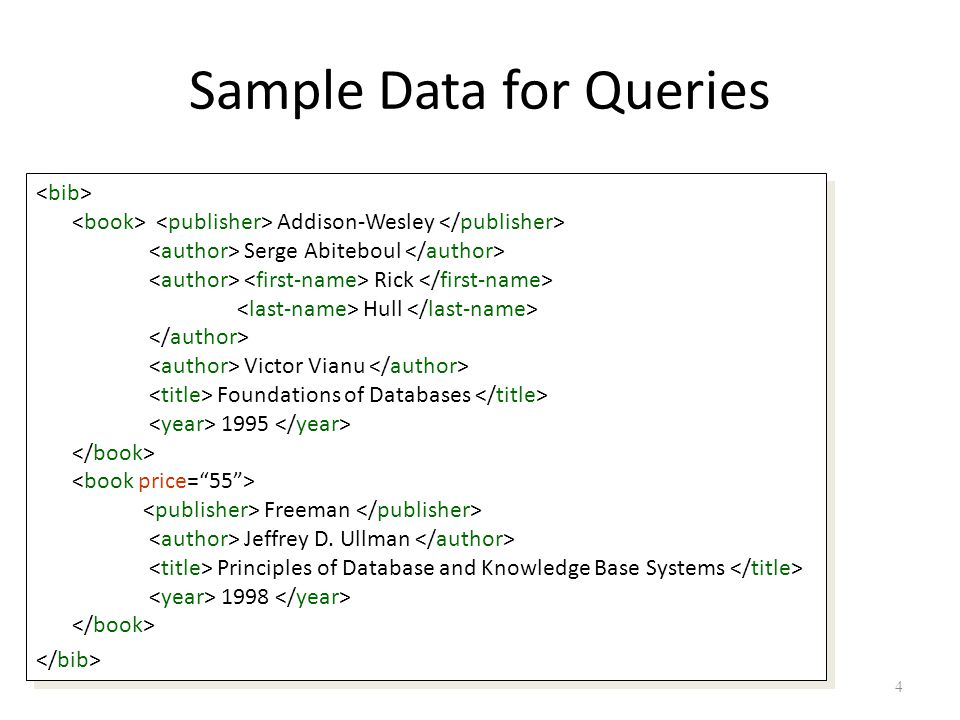 4 Sample Data for Queries Addison-Wesley Serge Abiteboul Rick Hull Victor Vianu Foundations of Databases 1995 Freeman Jeffrey D.