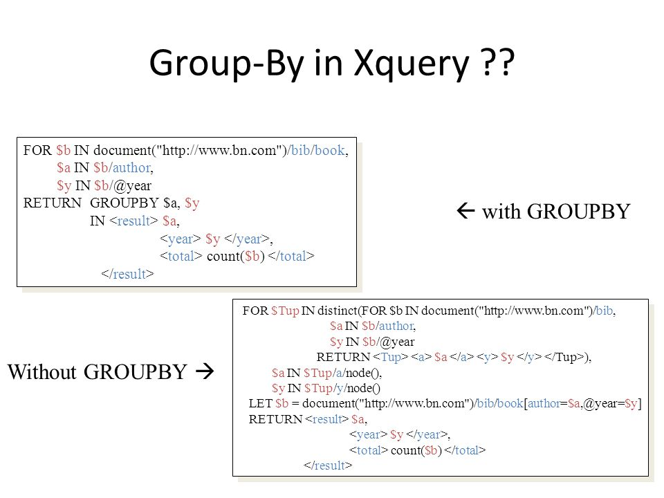 Group-By in Xquery .