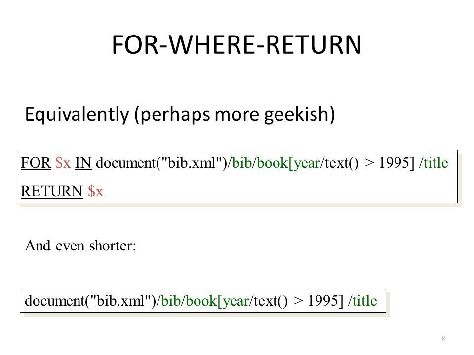 FOR v.s. LET FOR Binds node variables  iteration LET Binds collection variables  one value 39