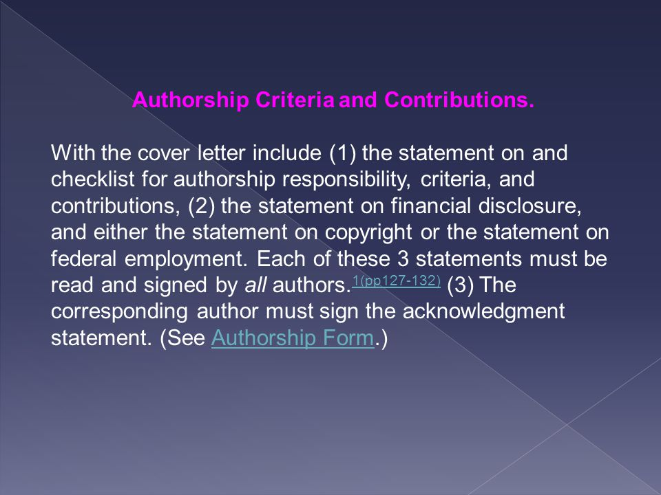 Authorship Criteria and Contributions.