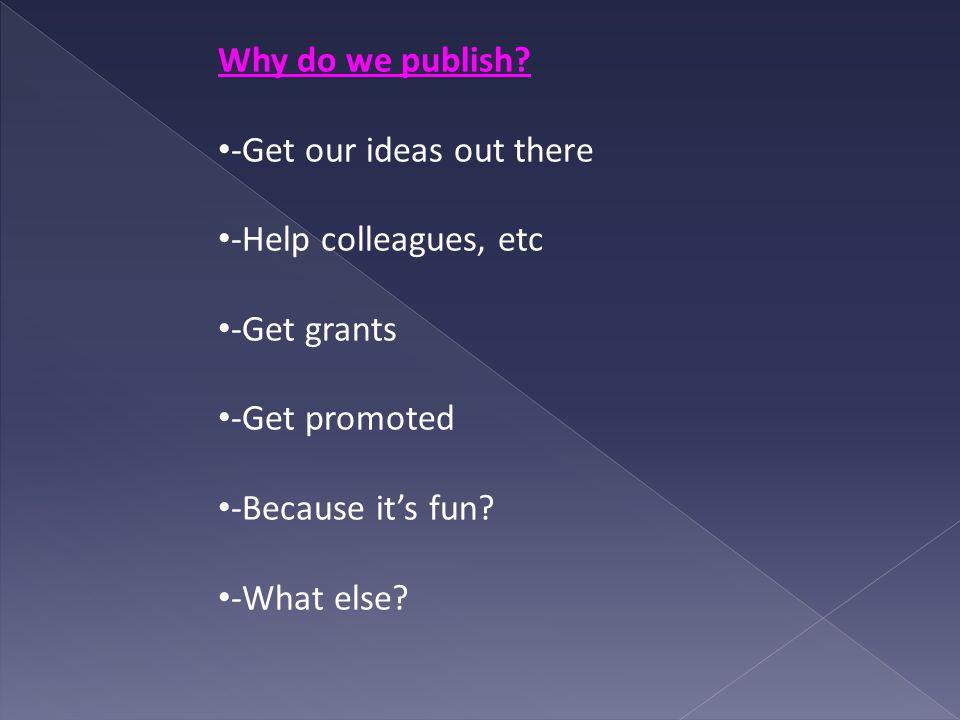 Why do we publish.