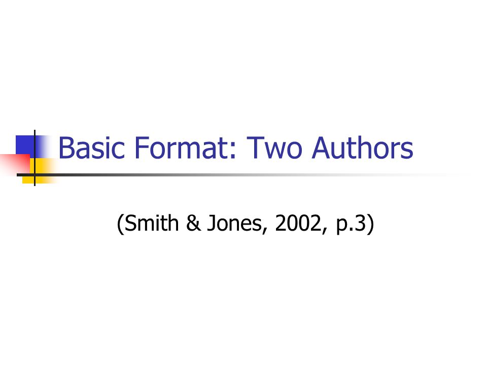 Basic Format: Two Authors (Smith & Jones, 2002, p.3)