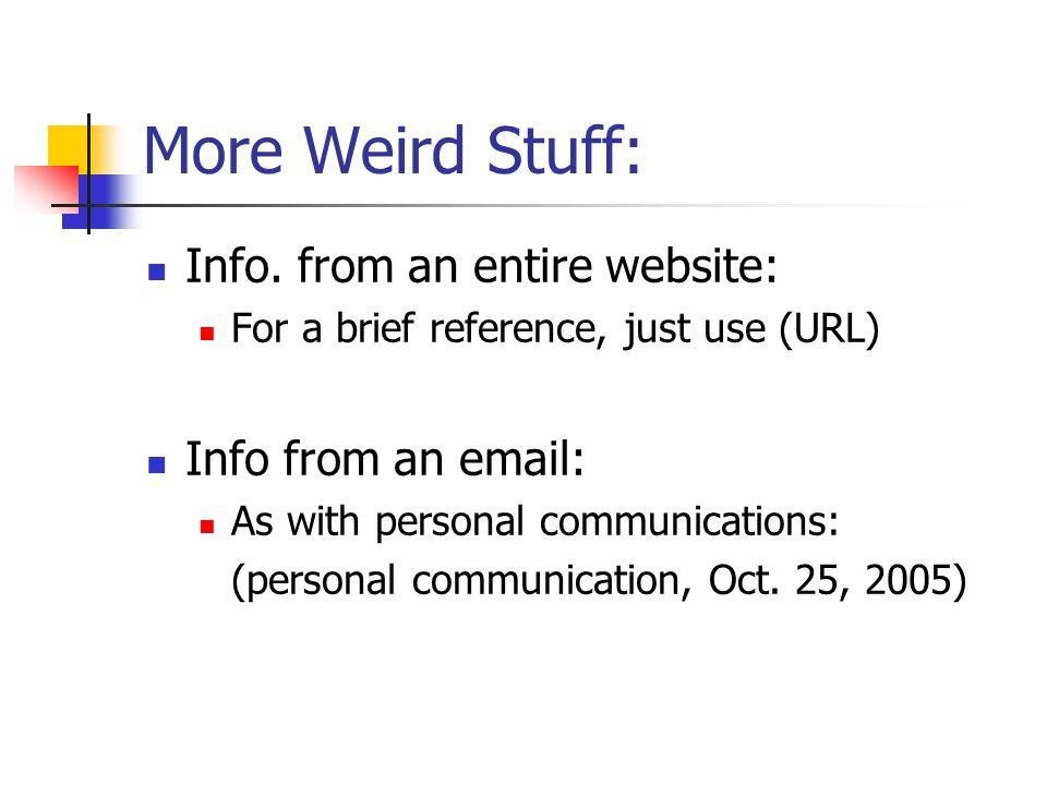 More Weird Stuff: Info.