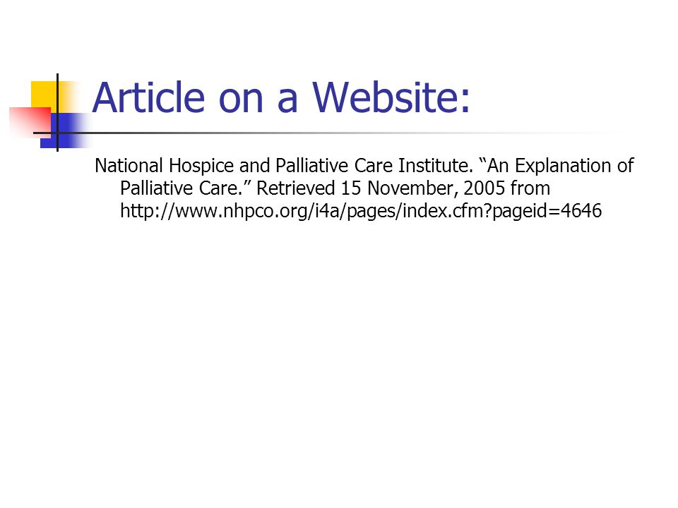 Article on a Website: National Hospice and Palliative Care Institute.