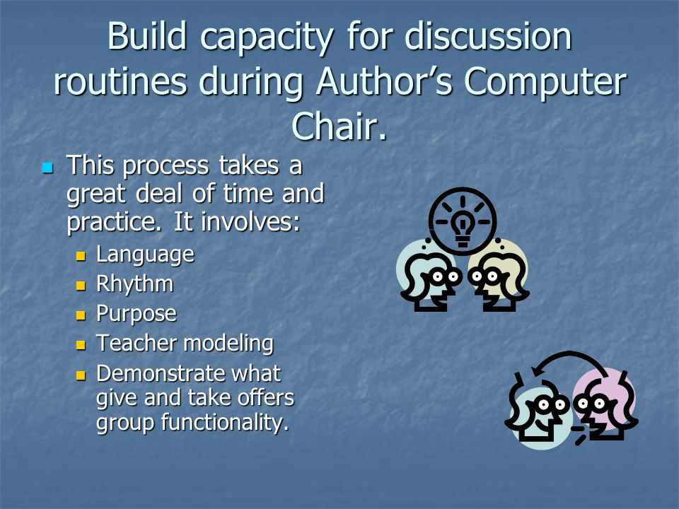 Build capacity for discussion routines during Author's Computer Chair. This process takes a great deal of time and practice. It involves: This process