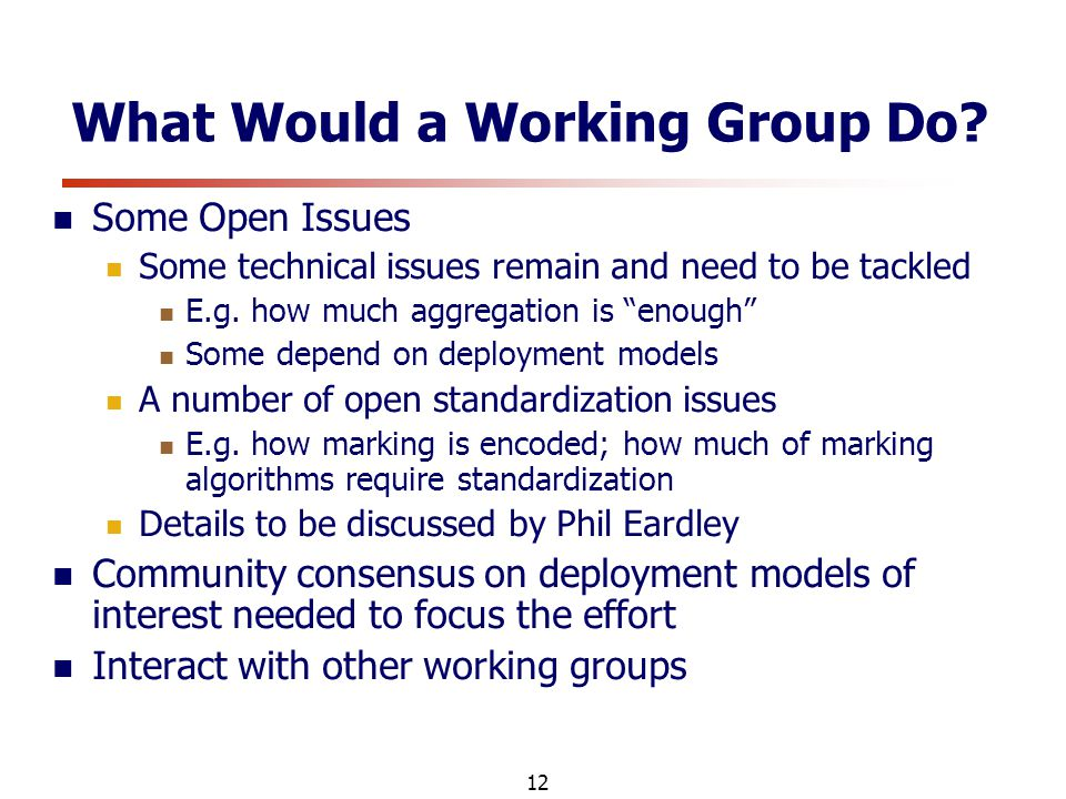 12 What Would a Working Group Do.