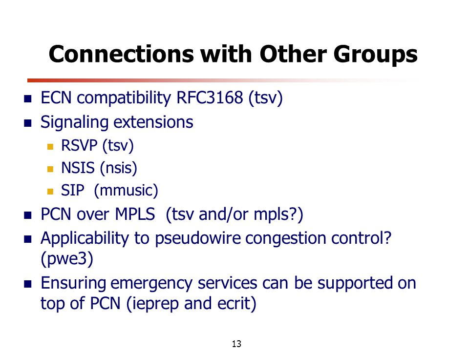 13 Connections with Other Groups ECN compatibility RFC3168 (tsv) Signaling extensions RSVP (tsv) NSIS (nsis) SIP (mmusic) PCN over MPLS (tsv and/or mpls ) Applicability to pseudowire congestion control.
