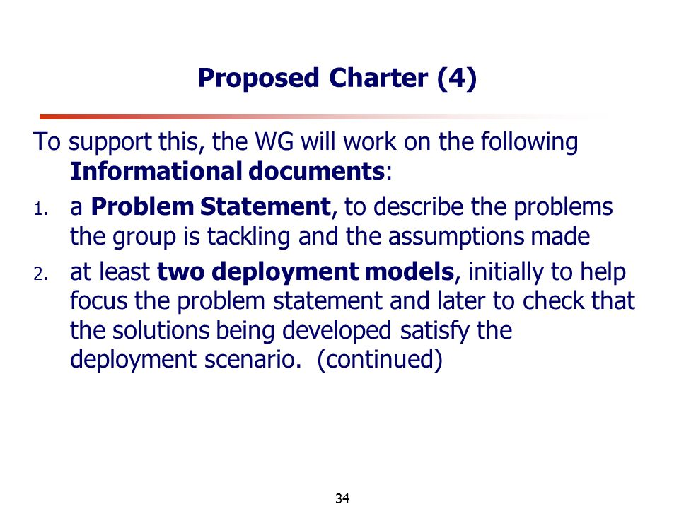 34 Proposed Charter (4) To support this, the WG will work on the following Informational documents: 1.