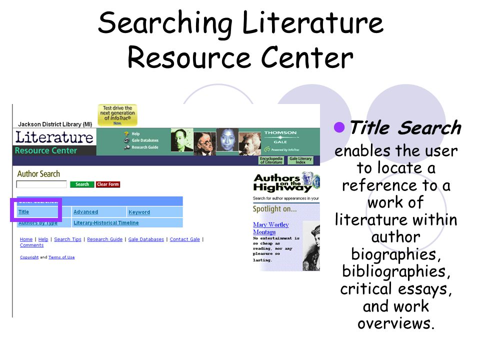 Searching Literature Resource Center Title Search enables the user to locate a reference to a work of literature within author biographies, bibliographies, critical essays, and work overviews.