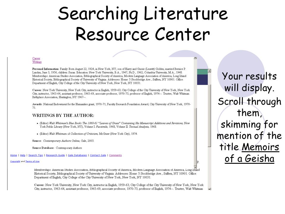 Searching Literature Resource Center Your results will display.